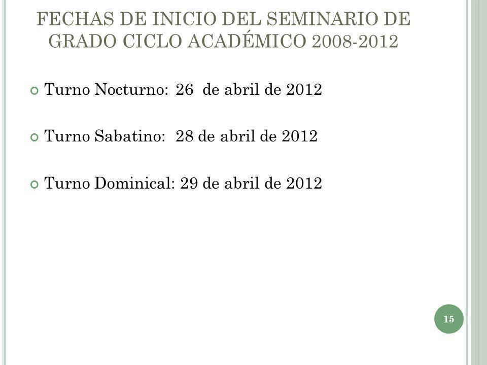 FECHAS DE INICIO DEL SEMINARIO DE GRADO CICLO ACADÉMICO 2008-2012 Turno Nocturno:26 de abril de 2012 Turno Sabatino:28 de abril de 2012 Turno Dominica