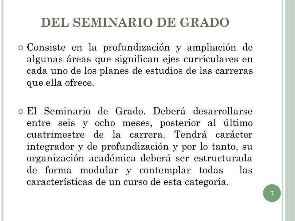 DEL SEMINARIO DE GRADO Consiste en la profundización y ampliación de algunas áreas que significan ejes curriculares en cada uno de los planes de estud