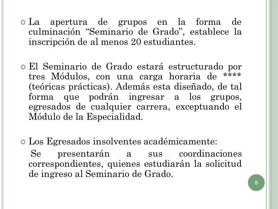 La apertura de grupos en la forma de culminación Seminario de Grado, establece la inscripción de al menos 20 estudiantes. El Seminario de Grado estará