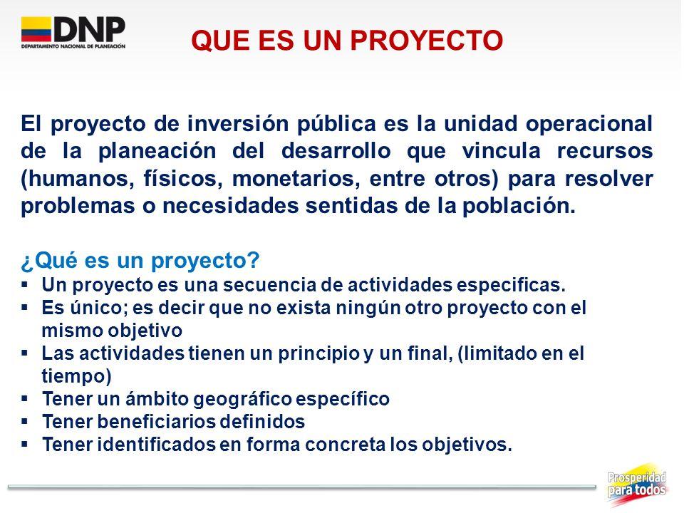 El proyecto de inversión pública es la unidad operacional de la planeación del desarrollo que vincula recursos (humanos, físicos, monetarios, entre ot