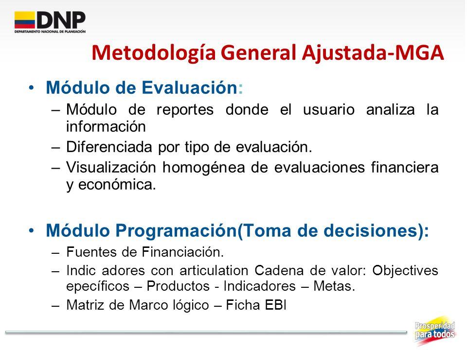 Módulo de Evaluación: –Módulo de reportes donde el usuario analiza la información –Diferenciada por tipo de evaluación. –Visualización homogénea de ev