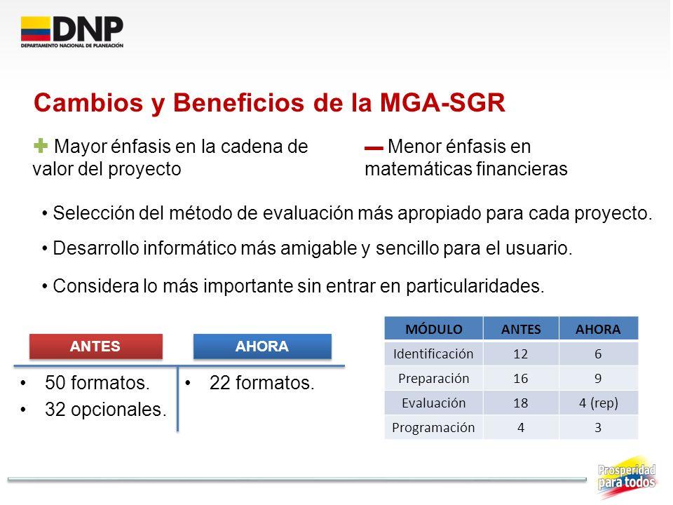 Cambios y Beneficios de la MGA-SGR Mayor énfasis en la cadena de valor del proyecto Menor énfasis en matemáticas financieras Selección del método de e