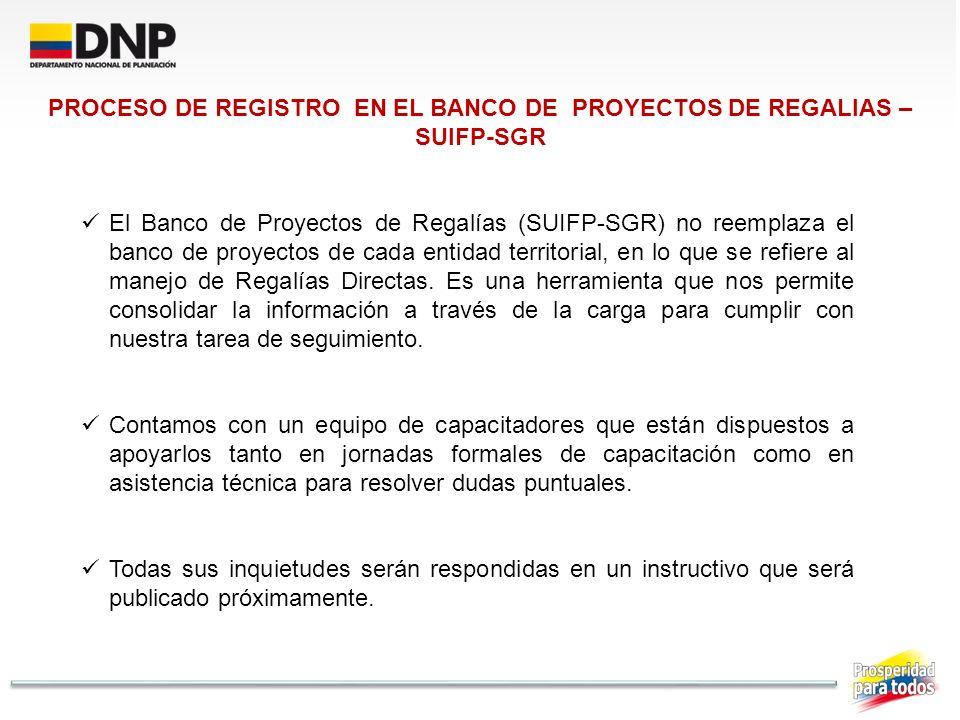 El Banco de Proyectos de Regalías (SUIFP-SGR) no reemplaza el banco de proyectos de cada entidad territorial, en lo que se refiere al manejo de Regalí