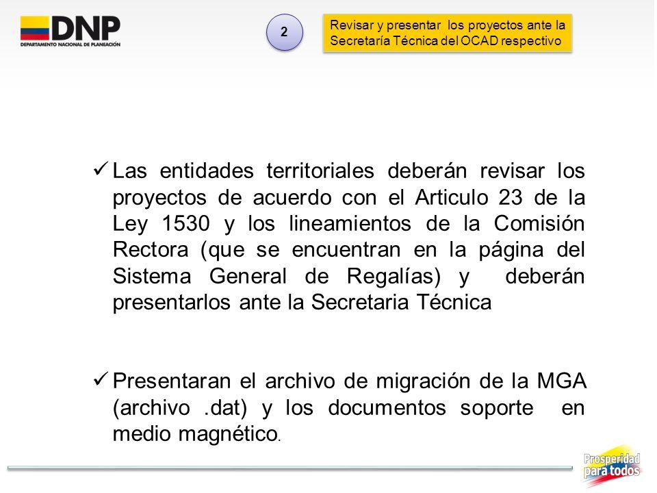 Revisar y presentar los proyectos ante la Secretaría Técnica del OCAD respectivo 2 2 Las entidades territoriales deberán revisar los proyectos de acue