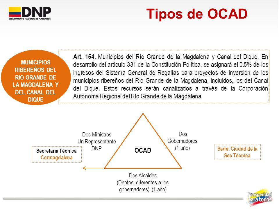 Art. 154. Municipios del Río Grande de la Magdalena y Canal del Dique. En desarrollo del artículo 331 de la Constitución Política, se asignará el 0.5%