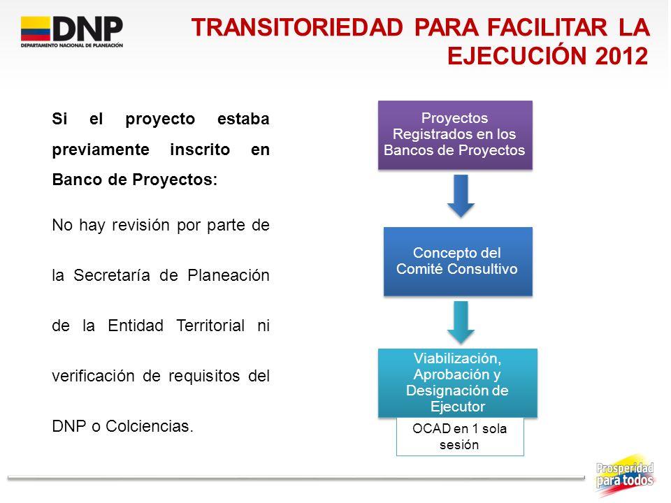 Viabilización, Aprobación y Designación de Ejecutor OCAD en 1 sola sesión Concepto del Comité Consultivo Proyectos Registrados en los Bancos de Proyec