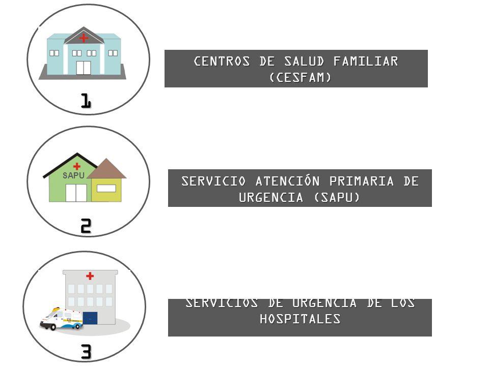 1 CENTROS DE SALUD FAMILIAR (CESFAM) (CESFAM) 2 SERVICIO ATENCIÓN PRIMARIA DE URGENCIA (SAPU) SAPU 3 SERVICIOS DE URGENCIA DE LOS HOSPITALES