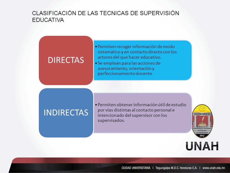 Permiten recoger información de modo sistemático y en contacto directo con los actores del que hacer educativo. Se emplean para las acciones de asesor