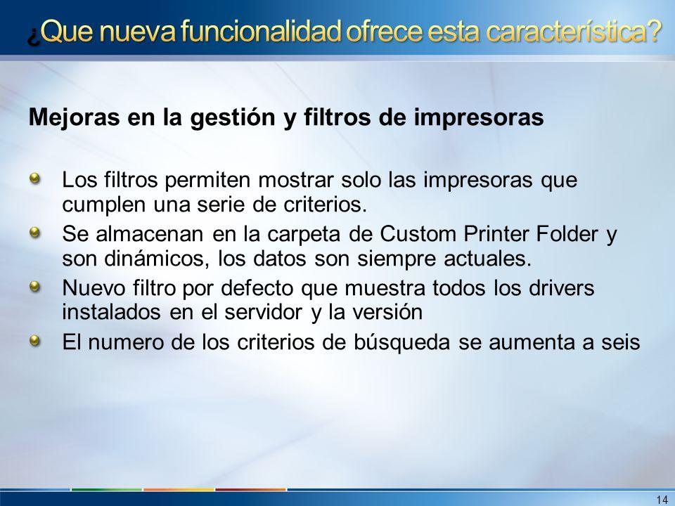 Mejoras en la gestión y filtros de impresoras Los filtros permiten mostrar solo las impresoras que cumplen una serie de criterios. Se almacenan en la