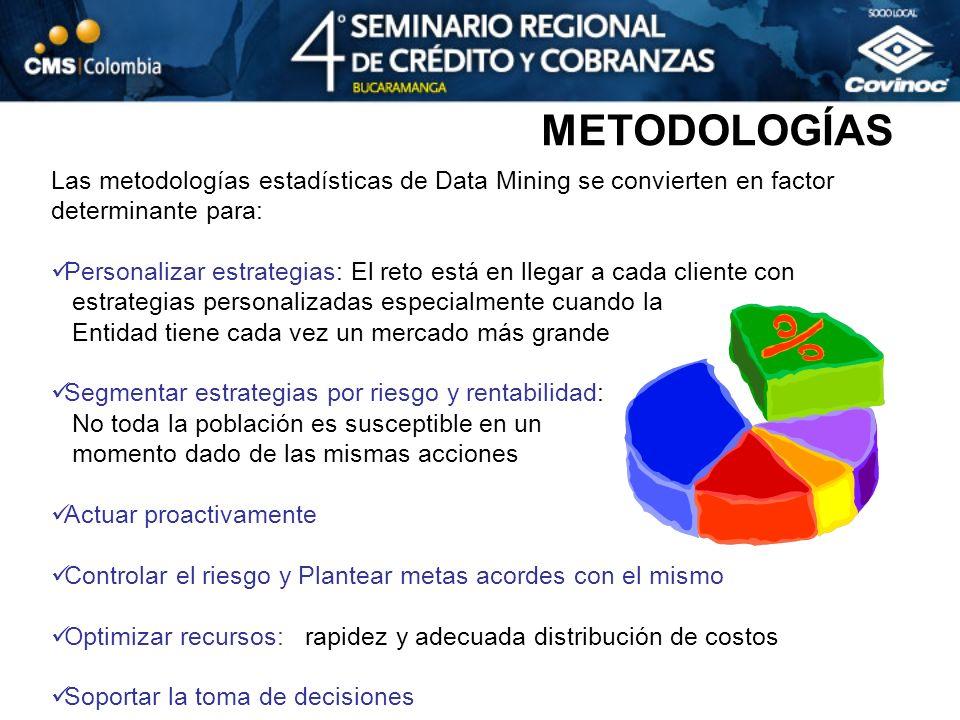 Las metodologías estadísticas de Data Mining se convierten en factor determinante para: Personalizar estrategias: El reto está en llegar a cada client