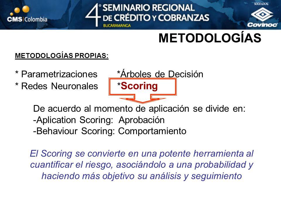 METODOLOGÍAS PROPIAS: * Parametrizaciones *Árboles de Decisión * Redes Neuronales * Scoring De acuerdo al momento de aplicación se divide en: -Aplicat