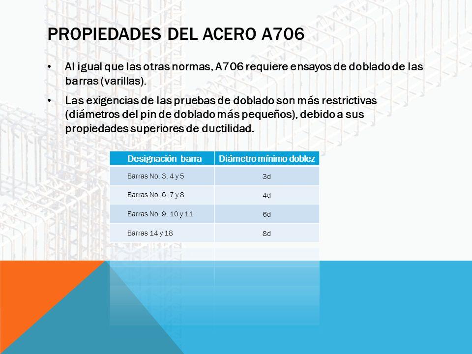 PROPIEDADES DEL ACERO A706 Al igual que las otras normas, A706 requiere ensayos de doblado de las barras (varillas).