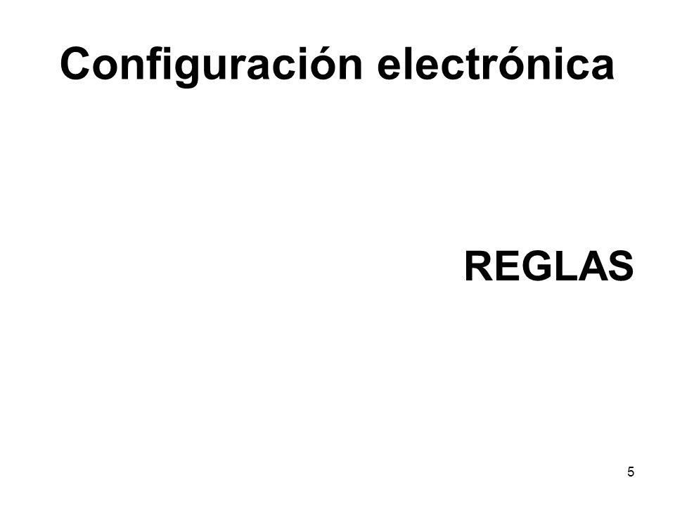 Configuración electrónica: 1º Regla- Niveles de energía Existen 7 niveles de energía (n, niveles de energía de Bohr) o capas donde pueden situarse los electrones, numerados del 1 al 7.