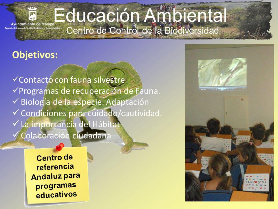 Educación Ambiental Centro de Control de la Biodiversidad Centro de referencia Andaluz para programas educativos Objetivos: Contacto con fauna silvest
