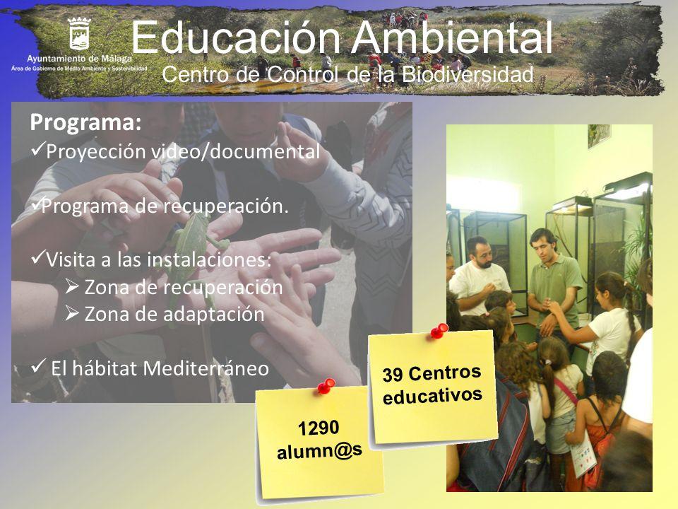 Educación Ambiental 1290 alumn@s Programa: Proyección video/documental Programa de recuperación. Visita a las instalaciones: Zona de recuperación Zona