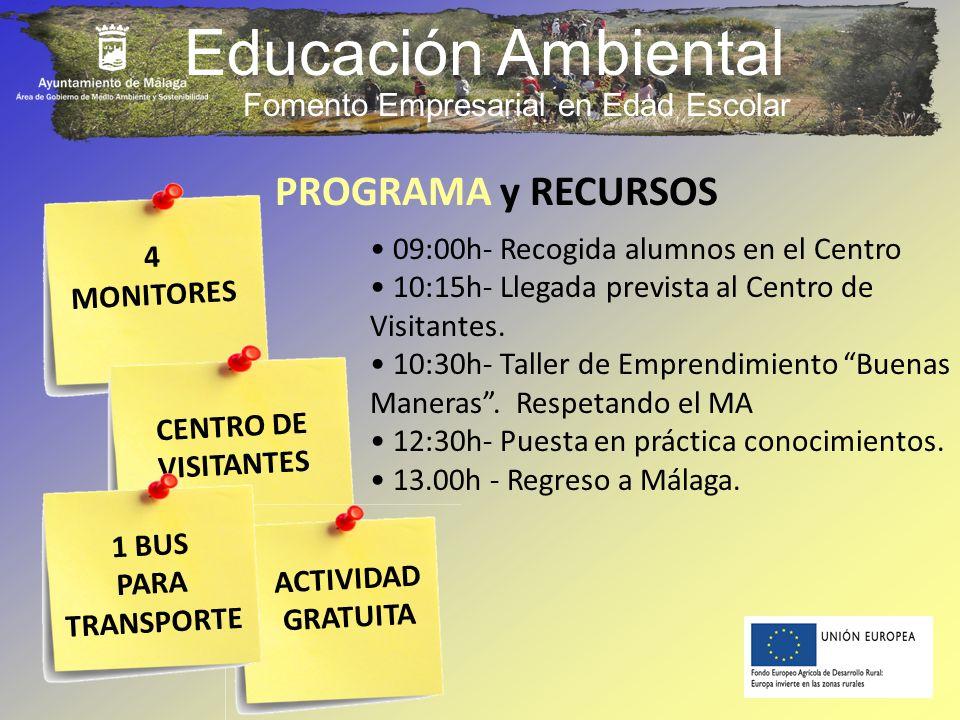 Educación Ambiental 4 MONITORES PROGRAMA y RECURSOS 09:00h- Recogida alumnos en el Centro 10:15h- Llegada prevista al Centro de Visitantes. 10:30h- Ta