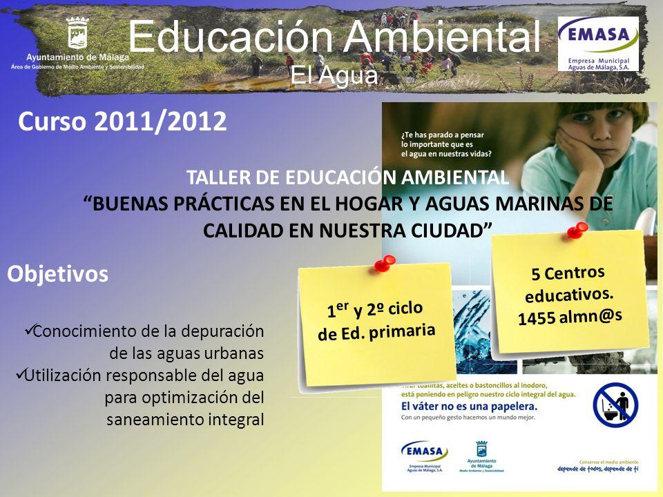 Educación Ambiental El Agua Curso 2011/2012 TALLER DE EDUCACIÓN AMBIENTAL BUENAS PRÁCTICAS EN EL HOGAR Y AGUAS MARINAS DE CALIDAD EN NUESTRA CIUDAD Ob