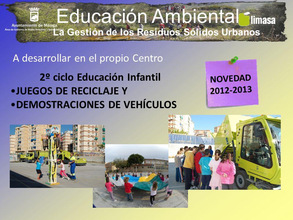 Educación Ambiental A desarrollar en el propio Centro 2º ciclo Educación Infantil JUEGOS DE RECICLAJE Y DEMOSTRACIONES DE VEHÍCULOS NOVEDAD 2012-2013