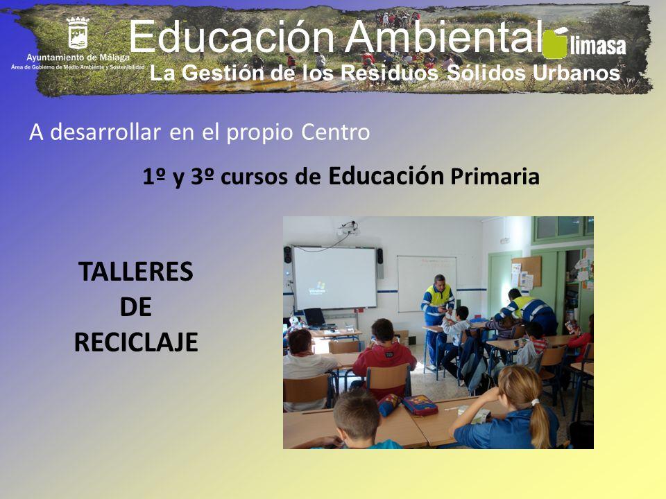 Educación Ambiental A desarrollar en el propio Centro 1º y 3º cursos de Educación Primaria TALLERES DE RECICLAJE La Gestión de los Residuos Sólidos Ur