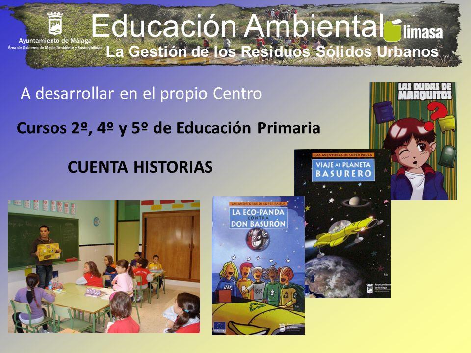 Educación Ambiental La Gestión de los Residuos Sólidos Urbanos Cursos 2º, 4º y 5º de Educación Primaria CUENTA HISTORIAS A desarrollar en el propio Ce