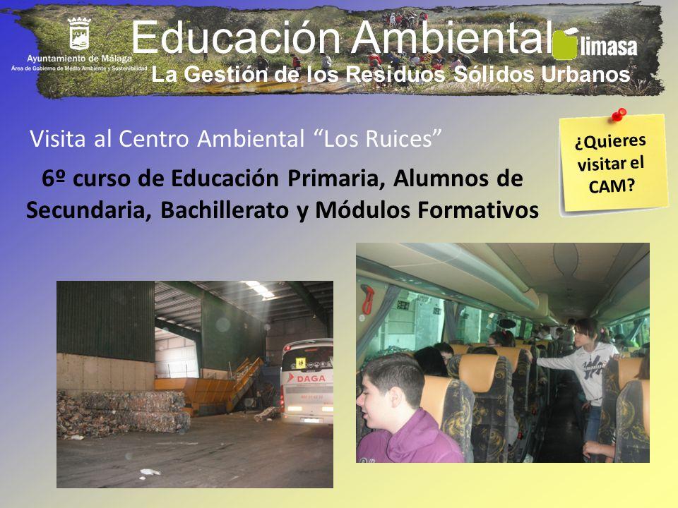 Educación Ambiental Visita al Centro Ambiental Los Ruices 6º curso de Educación Primaria, Alumnos de Secundaria, Bachillerato y Módulos Formativos La