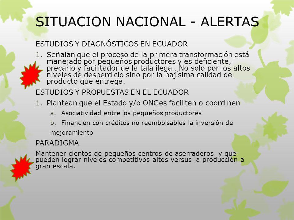 SITUACION NACIONAL - ALERTAS ESTUDIOS Y DIAGNÓSTICOS EN ECUADOR 1.Señalan que el proceso de la primera transformación está manejado por pequeños produ