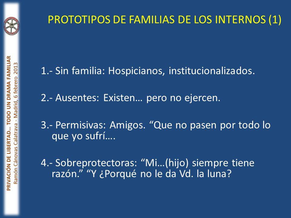 1.- Sin familia: Hospicianos, institucionalizados. 2.- Ausentes: Existen… pero no ejercen. 3.- Permisivas: Amigos. Que no pasen por todo lo que yo suf