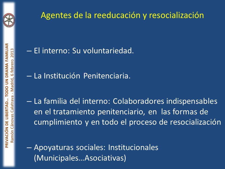 – El interno: Su voluntariedad. – La Institución Penitenciaria. – La familia del interno: Colaboradores indispensables en el tratamiento penitenciario