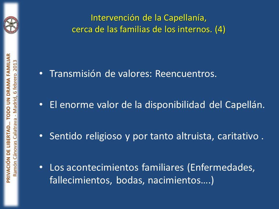 Transmisión de valores: Reencuentros. El enorme valor de la disponibilidad del Capellán. Sentido religioso y por tanto altruista, caritativo. Los acon