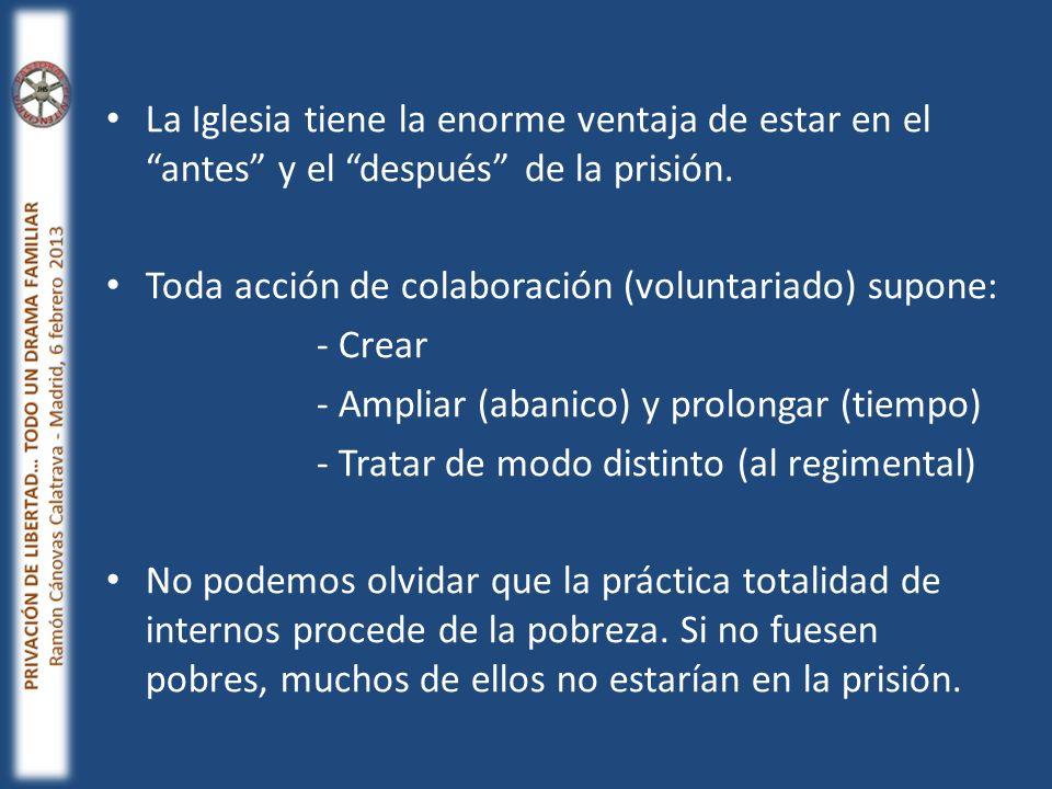 La Iglesia tiene la enorme ventaja de estar en el antes y el después de la prisión. Toda acción de colaboración (voluntariado) supone: - Crear - Ampli
