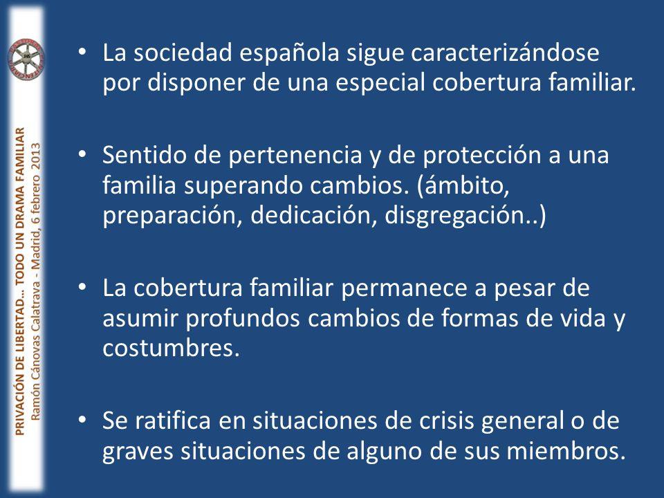 La sociedad española sigue caracterizándose por disponer de una especial cobertura familiar. Sentido de pertenencia y de protección a una familia supe