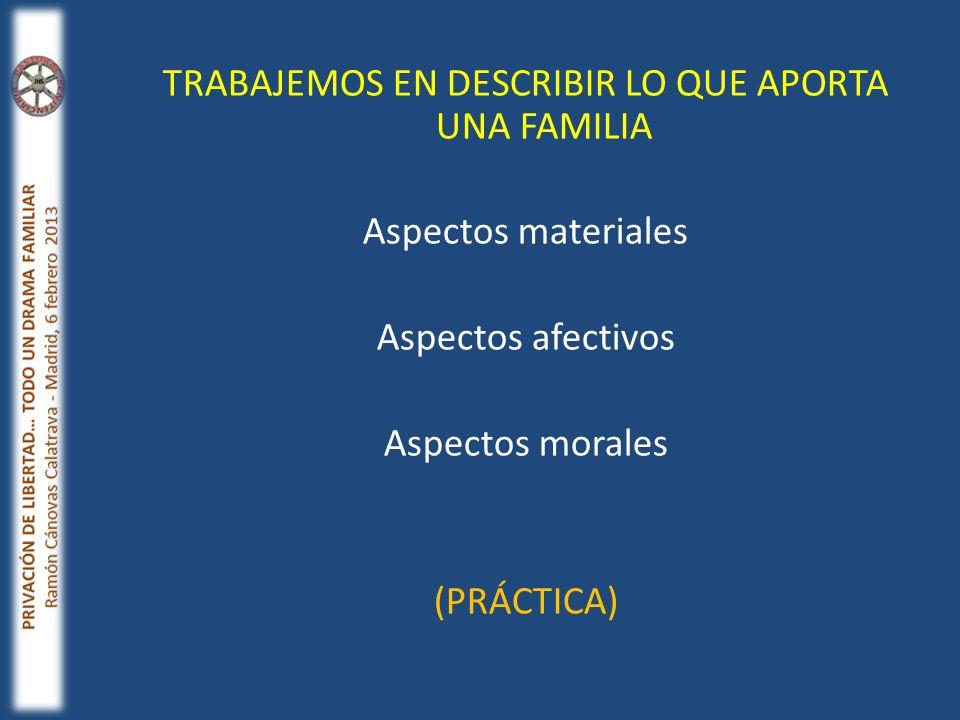 TRABAJEMOS EN DESCRIBIR LO QUE APORTA UNA FAMILIA Aspectos materiales Aspectos afectivos Aspectos morales (PRÁCTICA)
