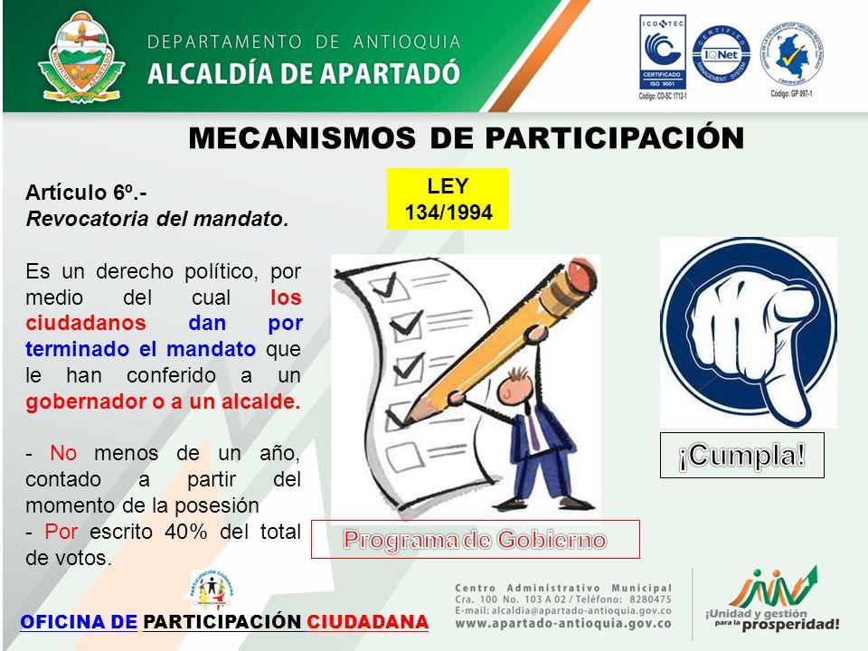 Artículo 6º.- Revocatoria del mandato. Es un derecho político, por medio del cual los ciudadanos dan por terminado el mandato que le han conferido a u