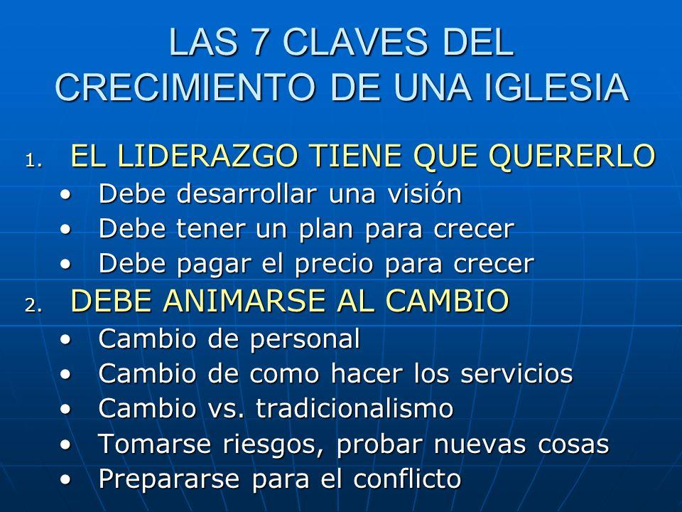 LAS 7 CLAVES DEL CRECIMIENTO DE UNA IGLESIA 3.