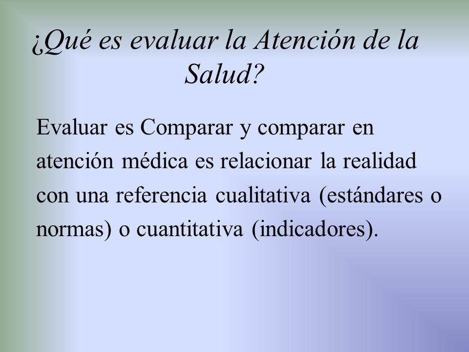 ¿Qué es evaluar la Atención de la Salud? Evaluar es Comparar y comparar en atención médica es relacionar la realidad con una referencia cualitativa (e