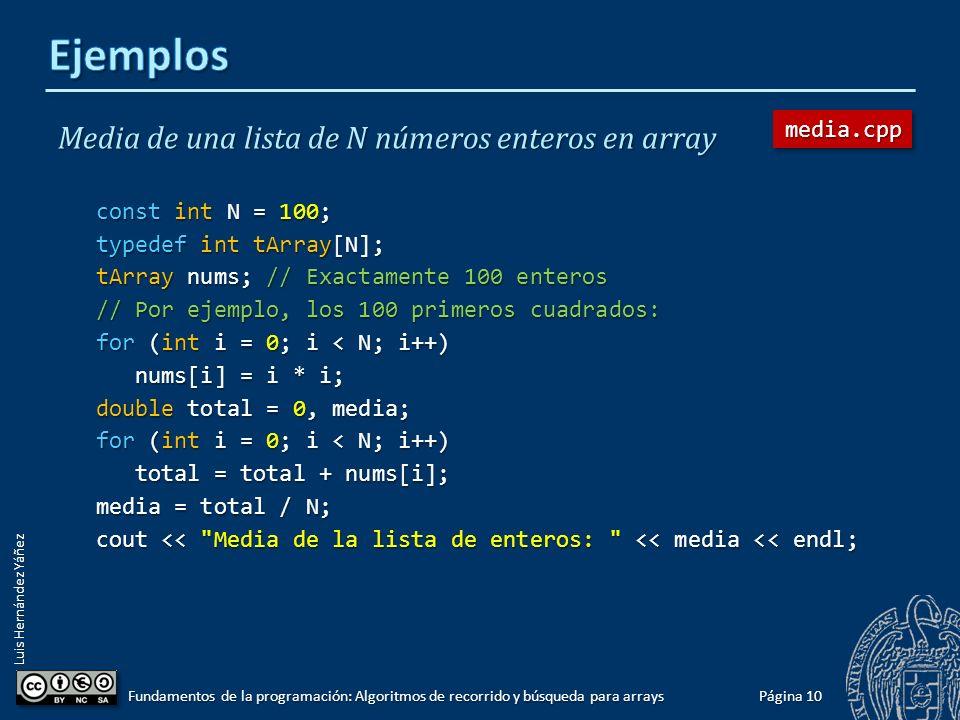 Luis Hernández Yáñez Página 9 Fundamentos de la programación: Algoritmos de recorrido y búsqueda para arrays