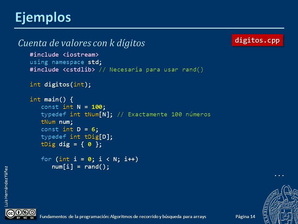 Luis Hernández Yáñez Cuenta de valores con k dígitos Función que devuelve el número de dígitos de un valor entero: int digitos(int dato) { int n_digitos = 1; // Al menos tiene un dígito int n_digitos = 1; // Al menos tiene un dígito while (dato >= 10) { while (dato >= 10) { dato = dato / 10; dato = dato / 10; n_digitos++; n_digitos++; } return n_digitos; return n_digitos;} Página 13 Fundamentos de la programación: Algoritmos de recorrido y búsqueda para arrays