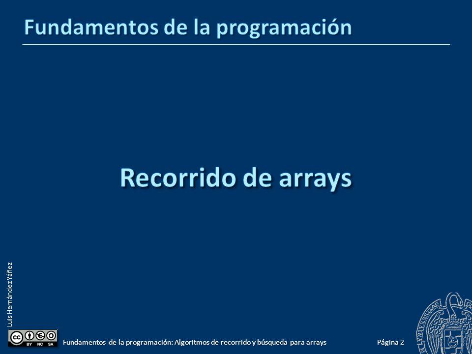 Luis Hernández Yáñez Página 1 Fundamentos de la programación: Algoritmos de recorrido y búsqueda para arrays Recorrido de arrays2 Recorrido de arrays completos5 Recorrido de arrays no completos Con centinela6 Con contador7 Ejemplos9 Listas de longitud variable16 Arrays y archivos26 De archivo a array27 De array a archivo28 Arrays multidimensionales34 Búsquedas en arrays39 Búsqueda de arrays completos41 Búsqueda de arrays no completos Con centinela42 Con contador43 Ejemplos45 Recorridos y búsquedas en cadenas50