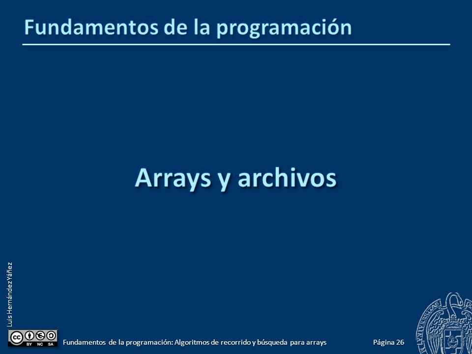 Luis Hernández Yáñez 55 33 pospos Eliminar un elemento (versión general) for (int i = pos; i < miLista.contador -1 ; i++) miLista.elementos[i] = miLista.elementos[i + 1]; miLista.elementos[i] = miLista.elementos[i + 1];miLista.contador--; 66 Página 25 Fundamentos de la programación: Algoritmos de recorrido y búsqueda para arrays 33 pospos