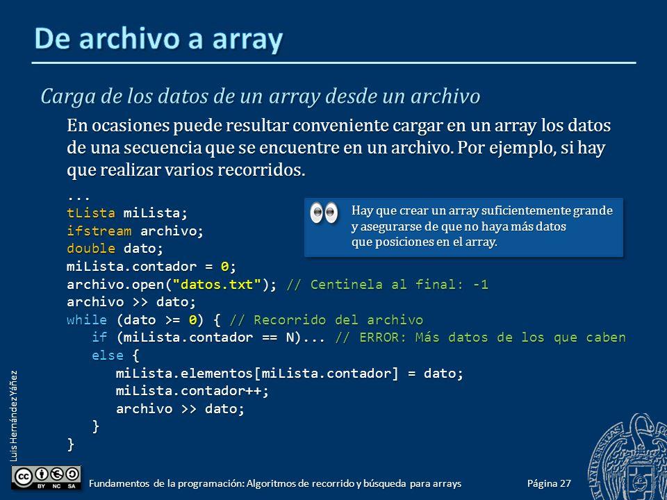 Luis Hernández Yáñez Página 26 Fundamentos de la programación: Algoritmos de recorrido y búsqueda para arrays