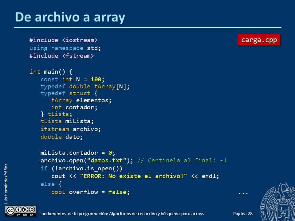 Luis Hernández Yáñez Carga de los datos de un array desde un archivo En ocasiones puede resultar conveniente cargar en un array los datos de una secuencia que se encuentre en un archivo.