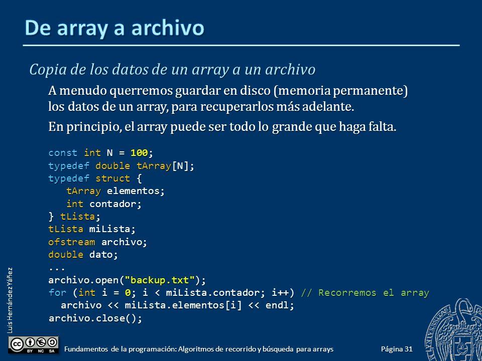 Luis Hernández Yáñez 1919 contadorcontador elementoselementos Página 30 Fundamentos de la programación: Algoritmos de recorrido y búsqueda para arrays 0 123.45 1 43.8 2 1986.0 3 325.98 4 1.156 5 49.5 6 543.21 7 666.0 8 9763.25 9 21.69 10 8.897 11 83927.0 12 29.564 13 45.21 14 112.12 15 999.0 16 6333.33 17 6.0 18 732.6 19 ...