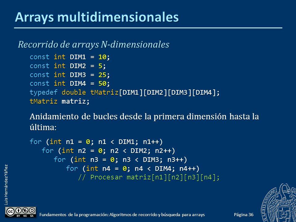 Luis Hernández Yáñez Recorrido de un array bidimensional const int FILAS = 10; const int COLUMNAS = 5; typedef double tMatriz[FILAS][COLUMNAS]; tMatriz matriz; Para cada fila (de 0 a FILAS – 1): Para cada columna (de 0 a COLUMNAS – 1): Procesar el elemento en [fila][columna] for (int fila = 0; fila < FILAS; fila++) for (int columna = 0; columna < COLUMNAS; columna++) for (int columna = 0; columna < COLUMNAS; columna++) // Procesar matriz[fila][columna]; // Procesar matriz[fila][columna]; Página 35 Fundamentos de la programación: Algoritmos de recorrido y búsqueda para arrays
