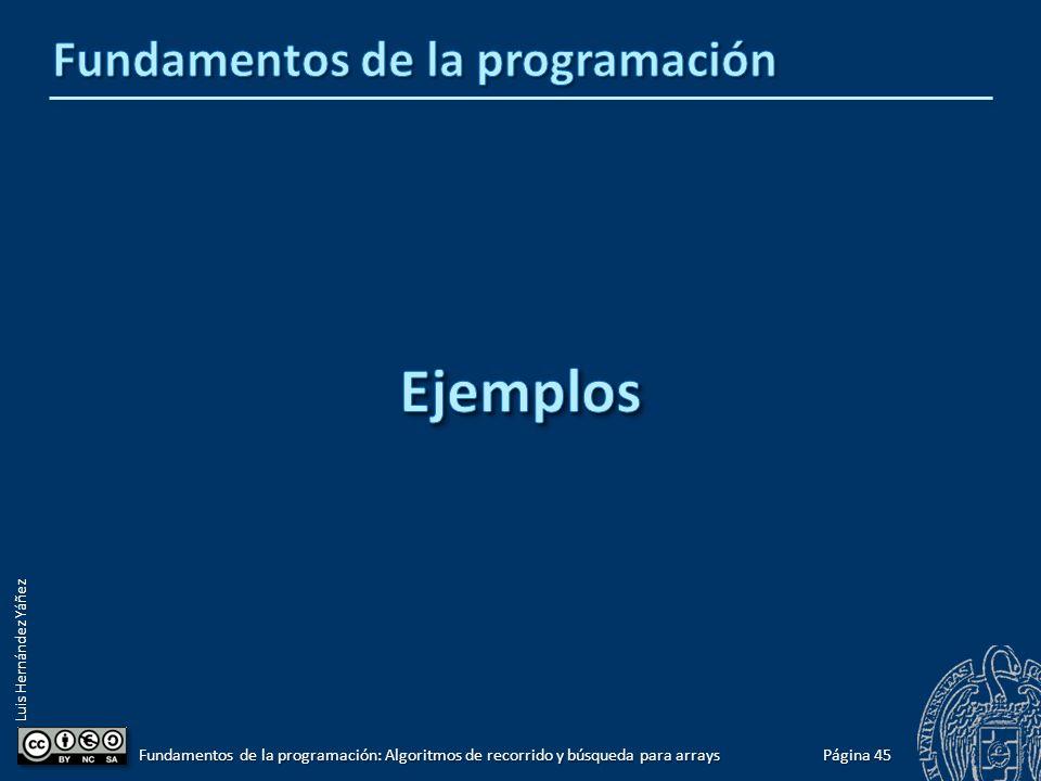 Luis Hernández Yáñez Búsquedas por posición Acceso directo: array[posición] Si se puede calcular la posición del elemento, su acceso será directo.
