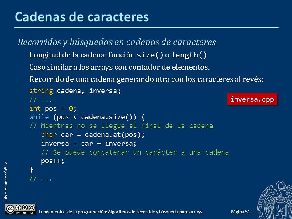 Luis Hernández Yáñez Página 50 Fundamentos de la programación: Algoritmos de recorrido y búsqueda para arrays