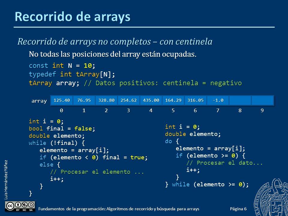 Luis Hernández Yáñez Recorrido de arrays completos Todas las posiciones del array ocupadas.