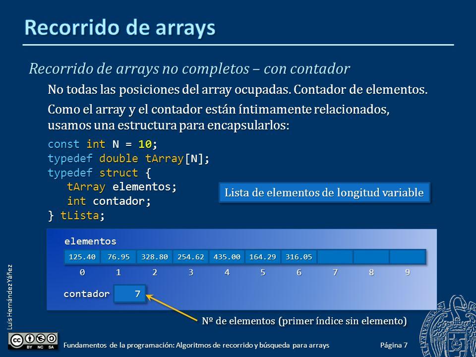 Luis Hernández Yáñez Recorrido de arrays no completos – con centinela No todas las posiciones del array están ocupadas.