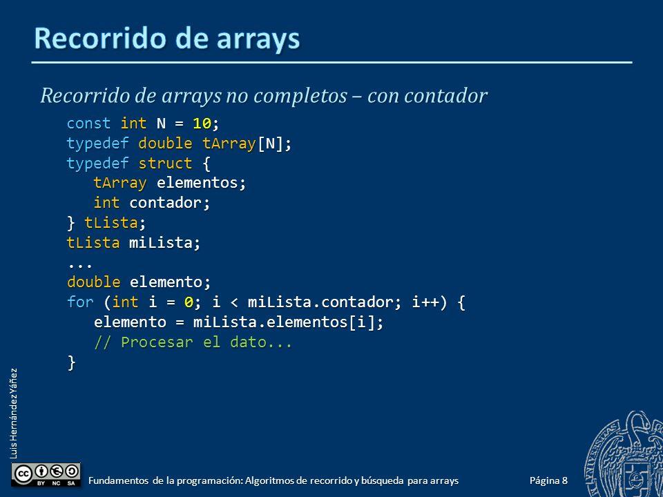 Luis Hernández Yáñez 77 contadorcontador Recorrido de arrays no completos – con contador No todas las posiciones del array ocupadas.