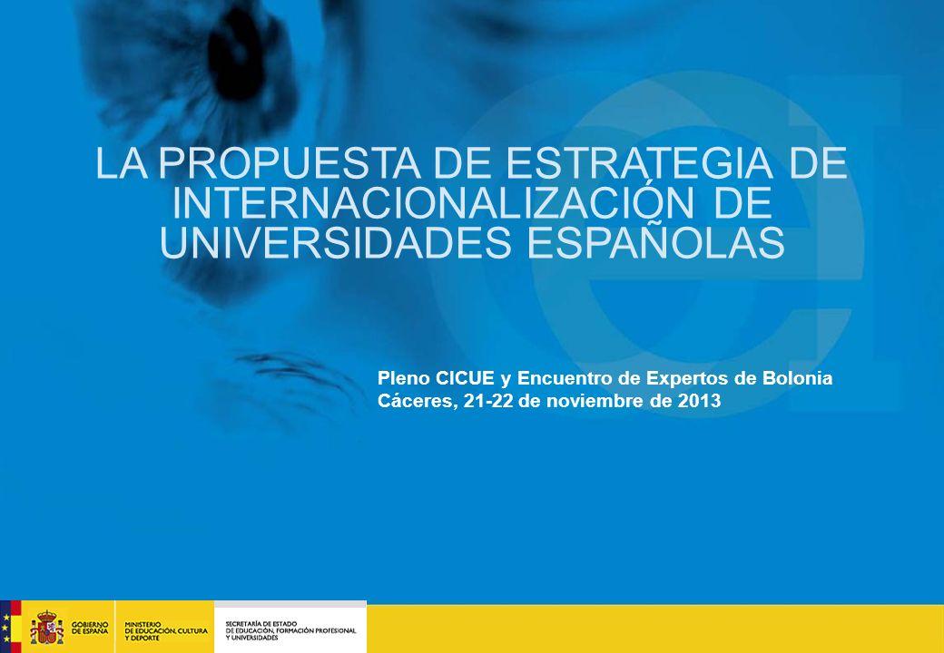 CAMPUS INCENTIVANDO LA CREACIÓN DE MASA CRÍTICA A NIVEL NACIONAL POLÍTICAS E INCENTIVOS educacion.es LA PROPUESTA DE ESTRATEGIA DE INTERNACIONALIZACIÓN DE UNIVERSIDADES ESPAÑOLAS Pleno CICUE y Encuentro de Expertos de Bolonia Cáceres, 21-22 de noviembre de 2013