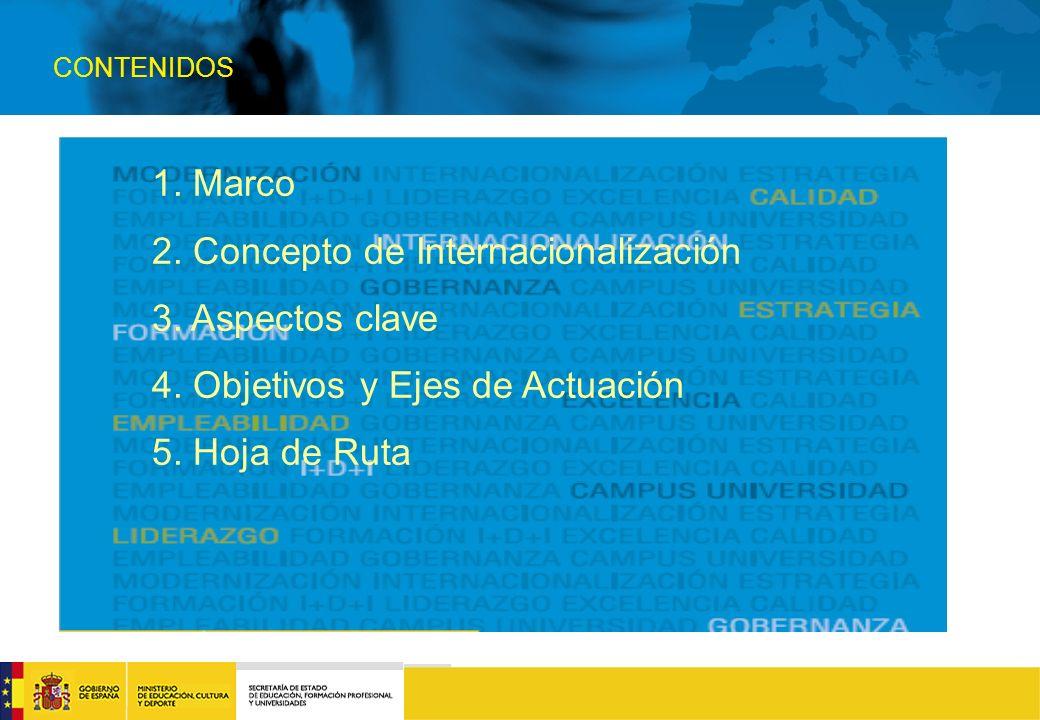 CONTENIDOS 1. Marco 2. Concepto de Internacionalización 3.